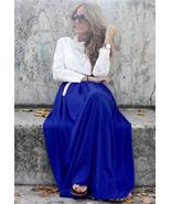 Spring Summer Royal Blue Long Chiffon Skirt.  B... - $64.90