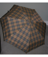 New small lightweight tan plaid foldable umbrel... - $29.99