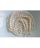 5 Strands Natural Genuine White Fresh Water Pearls More Than 200 8mm