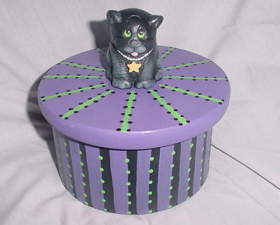 Original OOAK Halloween Folk Art Black Cat Box