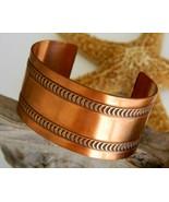 Vintage Wide Solid Copper Cuff Bracelet Embosse... - $24.95