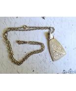 Vintage Silver Plate Necklace Etched Design 25i... - $10.00