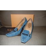 TOD'S Women Blue Suede Heel Loafer Pump 10 Stud... - $93.15