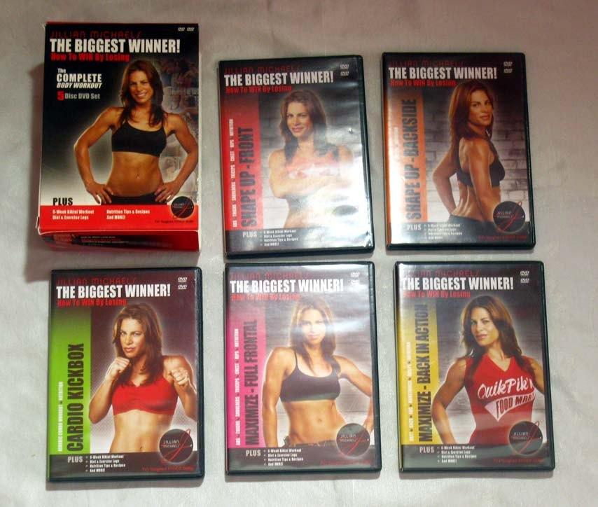Jillian Michaels THE BIGGEST WINNER 5-DVD Workout Exercise Set Lot Biggest Loser