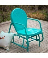 Outdoor Glider Vintage Retro Metal Chair Blue P... - £124.01 GBP