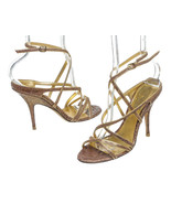 Donna Karan Gold Leather Embossed Strappy Sanda... - $95.00