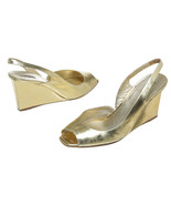 Miu Miu Gold Metallic Leather Peep Toe Slingbac... - $150.00