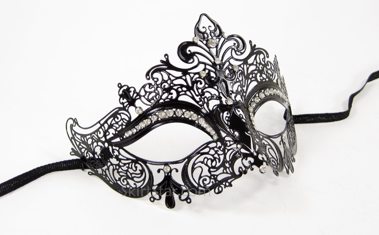 LASER CUT VENETIAN MASK masquerade costume BLACK NEW WEDDING crystal rhinestones