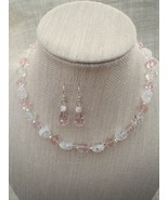 Rose Czech Glass and White Crystal Necklace Ea... - $25.99