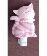 Pink Striped Cat Night Light Tiger Stripe Kitty... - $14.99