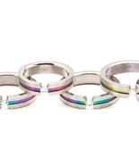 SSR18 - Gay Pride Rainbow Floating CZ Titanium ... - $14.99