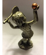 Hudson Pewter Girl Playing Tennis Racket Ball - $13.37