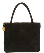 Chanel Black Quilted Suede Medallion Tote Handbag - $995.00