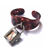 Vintage Brown Lucite Confetti Bracelet Watch Wi... - $49.00