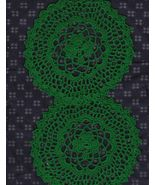 Pair of Thread Crochet Doilies Coasters Green S... - $16.00