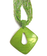 Necklace Lime Green Layered Seed Beads Large Pe... - $20.00