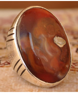 Silver agate aqeeq Men Ring-Middle Eastern-عقيق... - $79.00