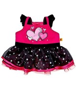 Build a Bear Black Fuchsia Pink Hearts Tulle Tr... - $58.95