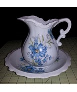 INARCO JAPAN BLUE FLOWERS WATER PITCHER W/ MATC... - $23.36