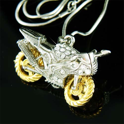 3D Motorcycle Electric Bike Swarvoski Crystal Pendant Neckla