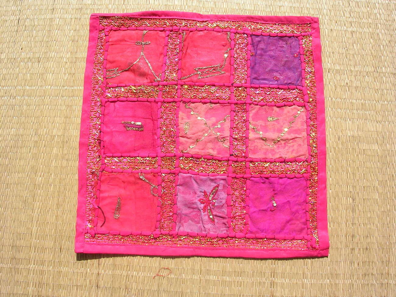 3 Ethnic Indian Pink Patchwork embroider Cushion pillow cov