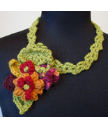 Handmade Crocheted Free-Form Floral Necklace/Brooch