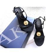 ANNE KLEIN BLACK STRAPPY SANDAL W/GOLD TONE MED... - $60.36