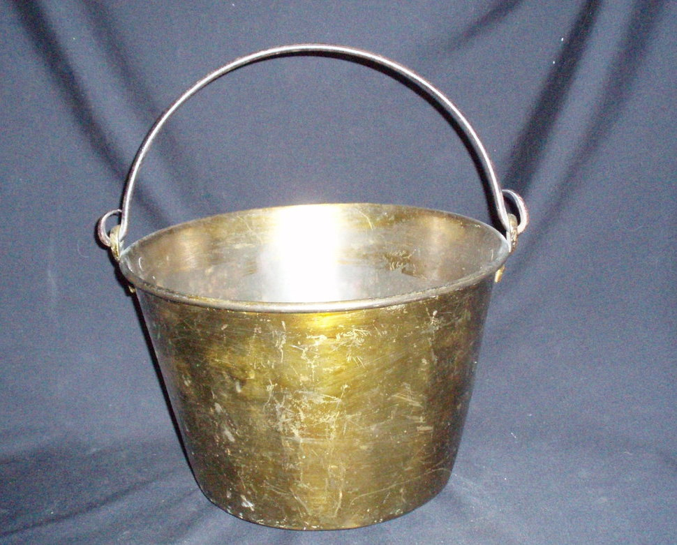 13 spun brass bucket pail w/handle antique