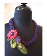 Handmade Crocheted Free-Form Floral Necklace