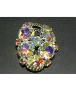 Vintage Brooch Pendant Multicolor Glass Gold To... - $35.00