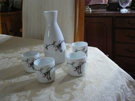 Vintage White & Black Sake Set Carafe & Four C... - $15.83