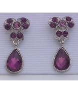 Purple Dangle Rhinestone Silvertone Earrings Pi... - $7.00