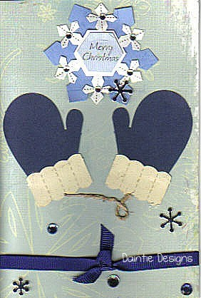 Handmade Blue Mittens Christmas Greeting Card