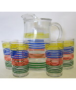 Vintage Rainbow Striped Pitcher & Glasses Set - $64.34