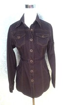 CAbi Brown Denim Fitted Jacket Size Xs Style # 162 - $33.65