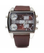 New Men's Brown Triple Time Square Leather Band... - $23.76
