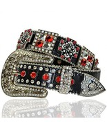 Ornate Red Rhinestone Western Buckle Cowgirl Cr... - $48.01