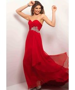 Sexy Strapless Red or Blue Long Chiffon Evening... - $179.99