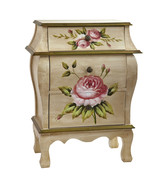 Antique Night Stand w/Floral Art, Ivory Crackle... - $237.59
