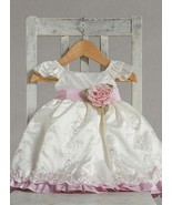 Stunning Ivory Pink Ruffle Embroidered Flower G... - $37.23 - $47.03