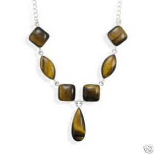 ".925 S.S -16""- Multi Shape - Tiger's Eye Stone Necklace"