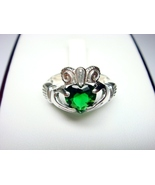 925 Silver Irish Claddagh Green Cubic Zirconia ... - $18.00