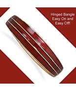 Graduated Ruby Red Enamel Hinged Fashion Bangle... - $17.97