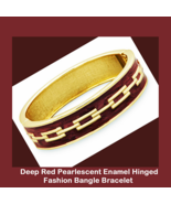 Gold Tone Red Enamel Fashion Bangle Bracelet wi... - $19.99