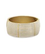 Elegant Gold Tone Lined Design White Pearlescen... - $17.53