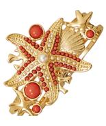 Bold Coral Sea Shore Themed Gold Toned Fashion ... - $19.95