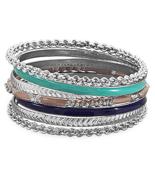 Set of 7 Silver Tone Fashion Bangle Bracelets w... - $26.99