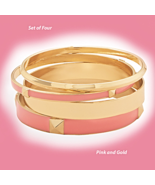 Pink & Gold Bangle Fashion Bracelet Set, (4 Bra... - $19.49