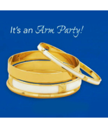 White & Gold Bangle Fashion Bracelet Set, (4 Br... - $29.99