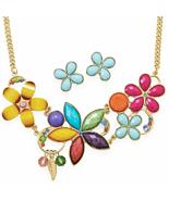 COLOR GALORE! Multicolor Flower Fashion Necklac... - $27.89